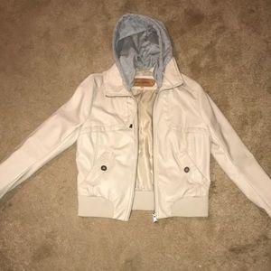 Beige Leather Jacket With Detachable Hood